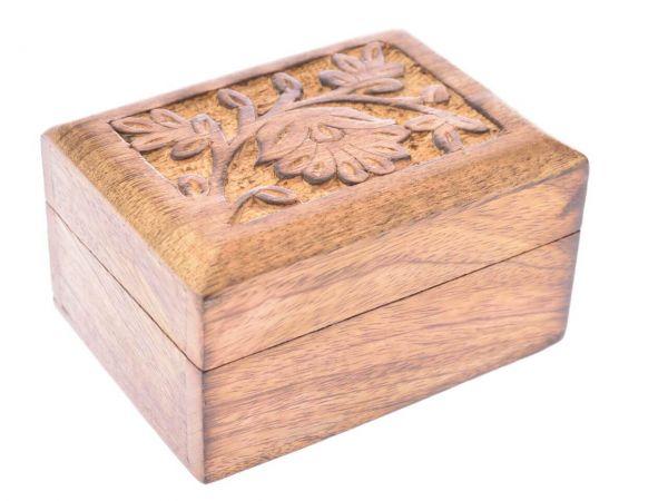Blumenranken Holz-Kästchen Schmuckkästchen Dose Schatulle