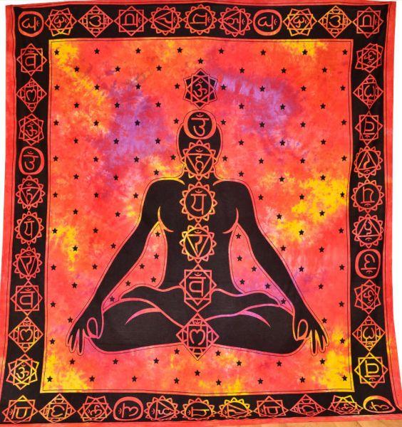 Wandtuch Chakra Meditation bunt gross