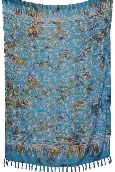 Batik Sarong Hellblau Weiss gemustert