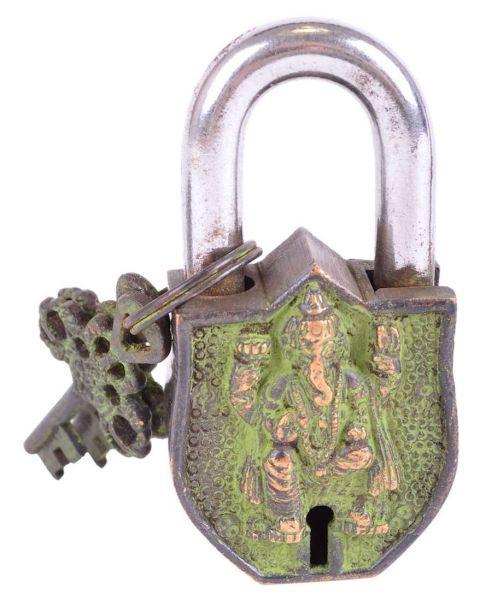Ganesha Vorhängeschloß antik Om-Zeichen Elefantengott