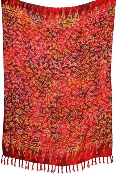Sarong Pareo Lunghi Rot Weiss Blumenmuster