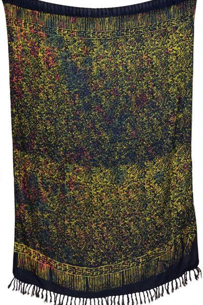 Kontraststarker Batik Sarong Dunkelblau Gelb Orange