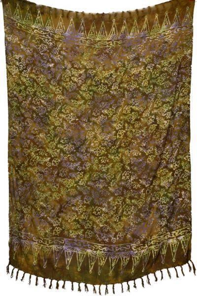 Olivfarbener Batik Sarong Blumenmuster