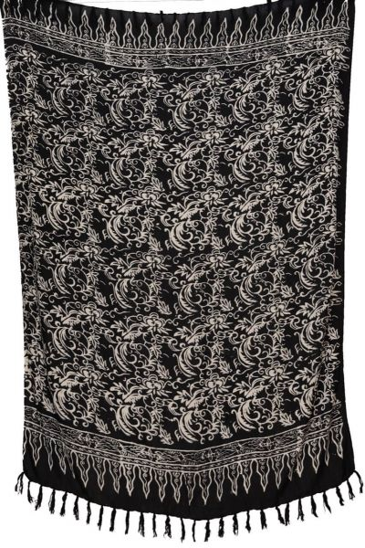 Sarong Schwarz Weiss florales Muster