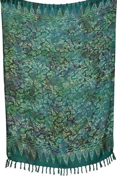 Intensiv Gruener Sarong mit Blumenmuster