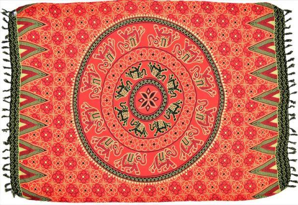 Sarong Pareo Elefanten Mandala | Rot #D
