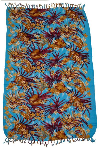 Sarong Tuch druck Blumen blau
