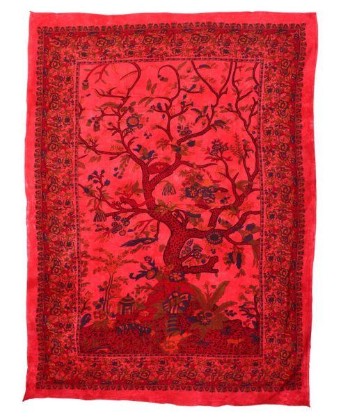 wandtuch lebensbaum rot