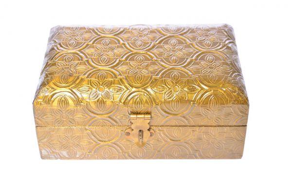 Holztruhe Schmuckkästchen florales Muster Dose Schatulle Gold