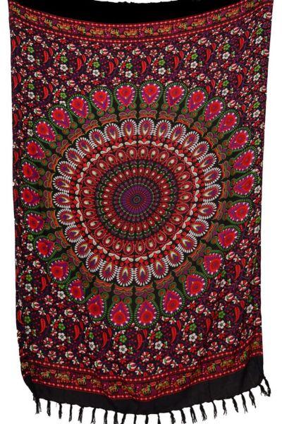 Mandala Sarong Schwarz Rot Blumenranken