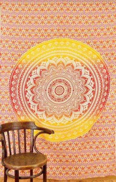 Kleines Mandala Wandtuch Rot Gelb Weiss