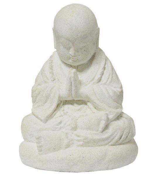 kleiner buddha mönch statue gips weiss